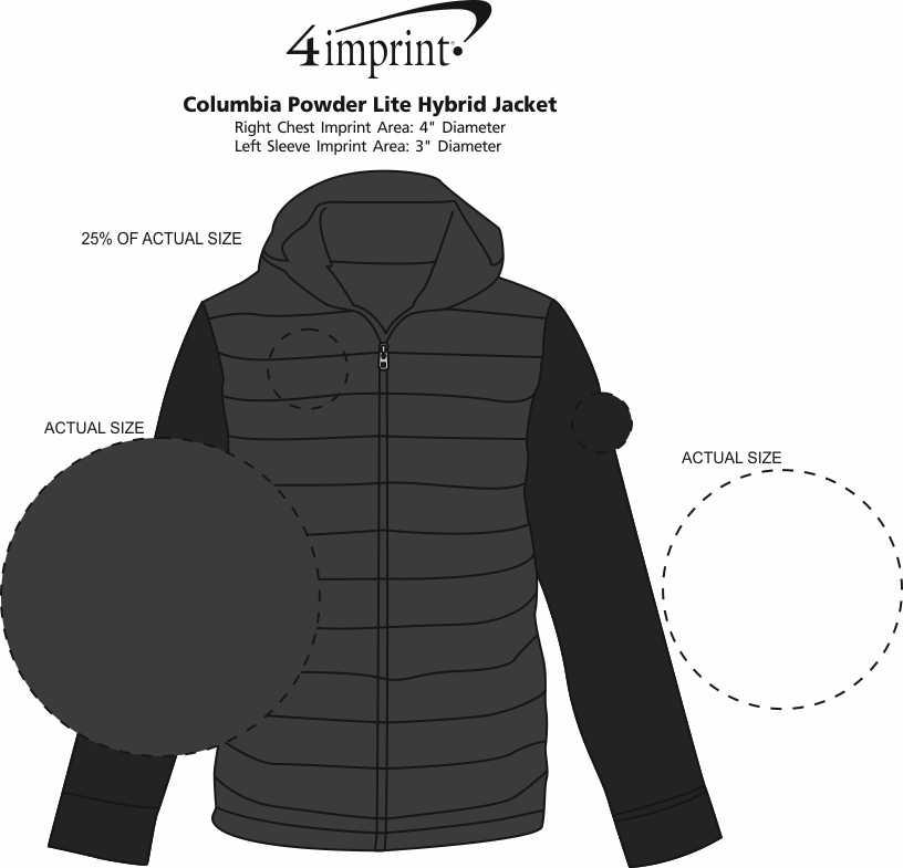Imprint Area of Columbia Powder Lite Hybrid Jacket