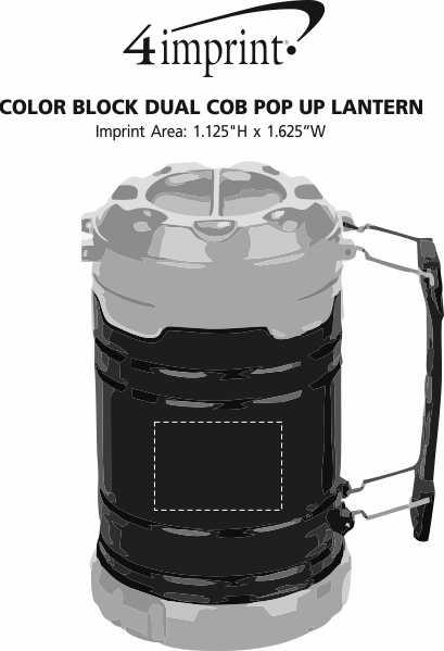 Imprint Area of Colorblock Dual COB Pop Up Lantern