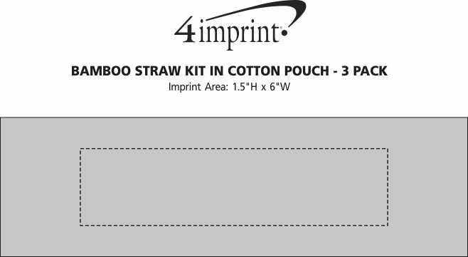Imprint Area of Bamboo Straw Kit in Cotton Pouch - 3 Pack