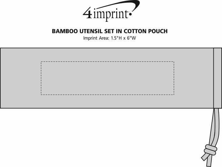 Imprint Area of Bamboo Cutlery Set in Cotton Pouch