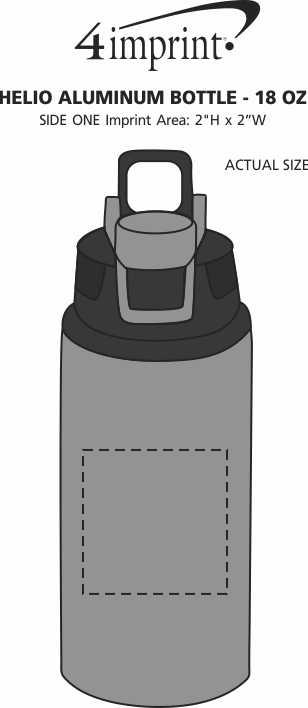 Imprint Area of Helio Aluminum Bottle - 18 oz.