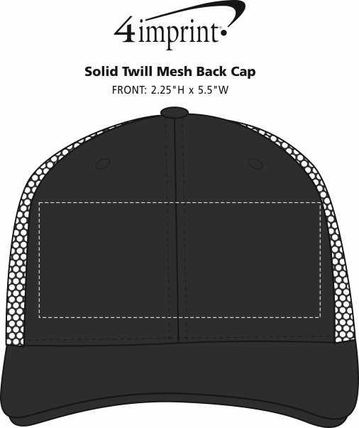 Imprint Area of Solid Twill Mesh Back Cap