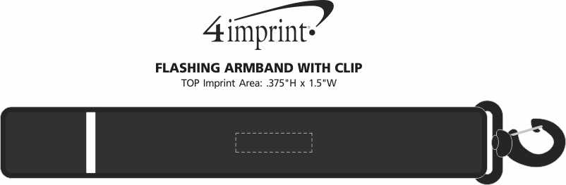 Imprint Area of Flashing Armband with Clip
