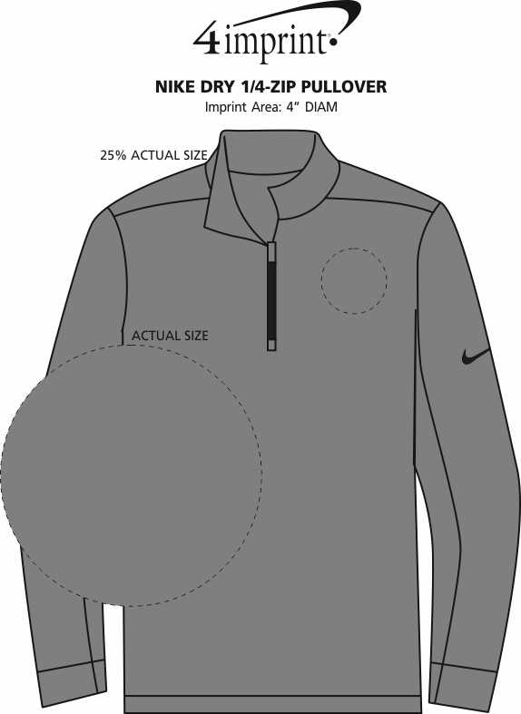 Imprint Area of Nike Dry 1/4-Zip Pullover