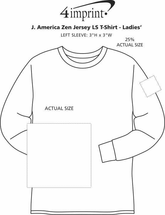 Imprint Area of J. America Zen Jersey LS T-Shirt - Ladies'