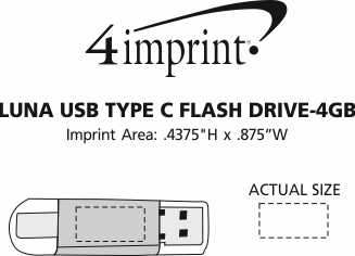 Imprint Area of Luna USB-C Flash Drive - 4GB