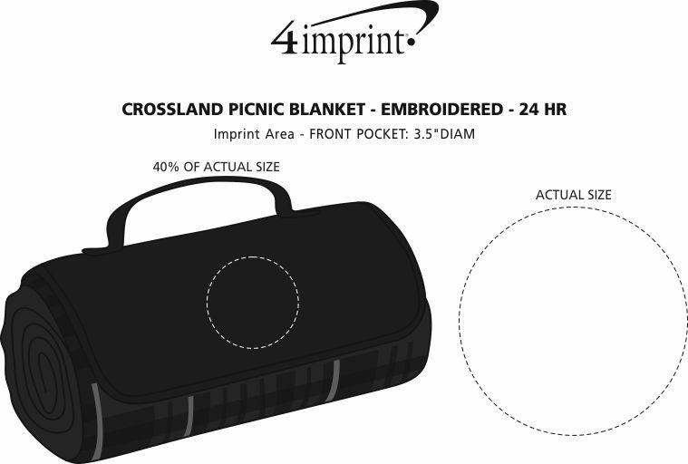 Imprint Area of Crossland Picnic Blanket - Embroidered - 24 hr