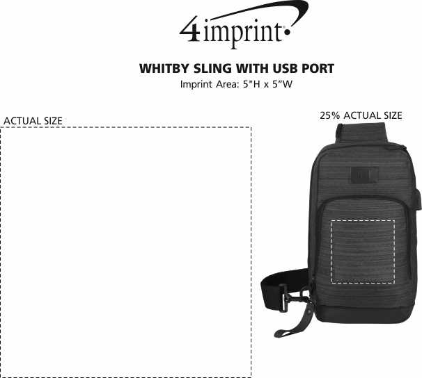 Imprint Area of Whitby Sling with USB Port