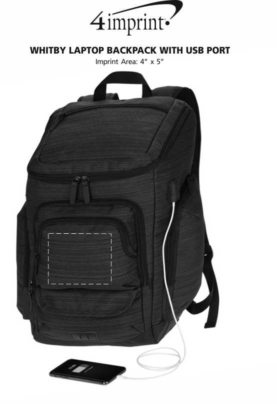 Imprint Area of Whitby Laptop Backpack with USB Port