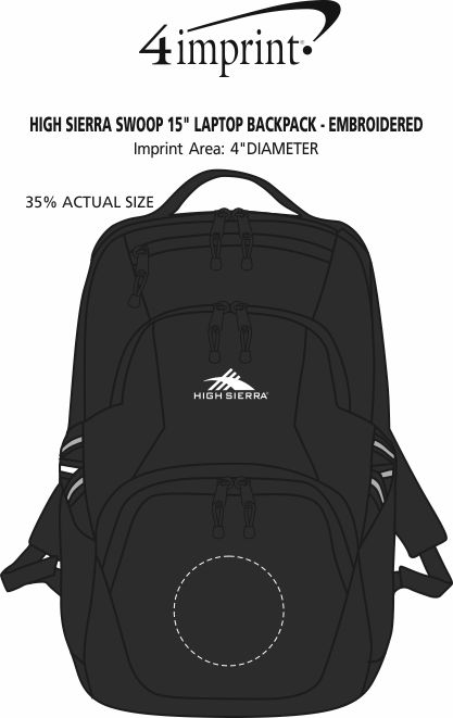 """Imprint Area of High Sierra Swoop 15"""" Laptop Backpack - Embroidered"""
