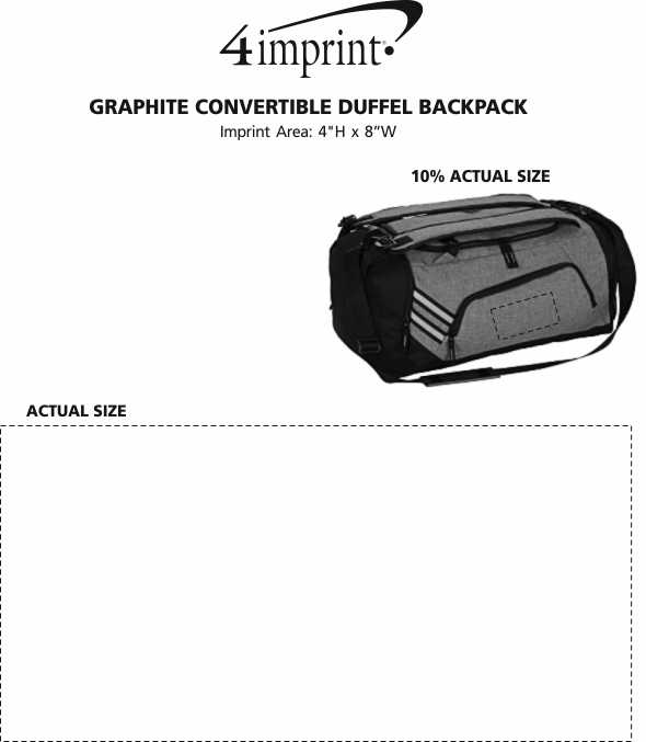 Imprint Area of Graphite Convertible Duffel Backpack