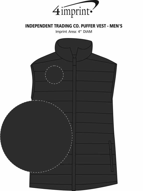 Imprint Area of Independent Trading Co. Puffer Vest - Men's