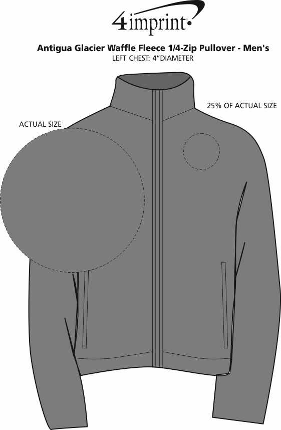 Imprint Area of Antigua Glacier Waffle Fleece 1/4-Zip Pullover - Men's