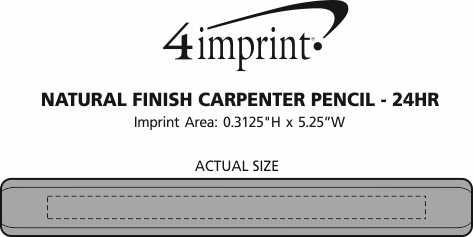Imprint Area of Natural Finish Carpenter Pencil - 24 hr