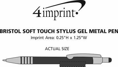 Imprint Area of Bristol Soft Touch Stylus Gel Metal Pen