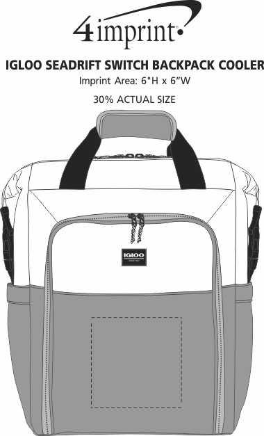 Imprint Area of Igloo Seadrift Switch Backpack Cooler