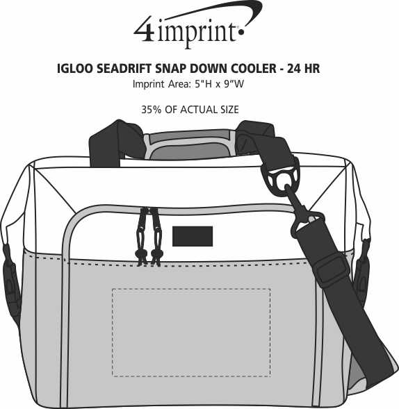 Imprint Area of Igloo Seadrift Snap Down Cooler - 24 hr