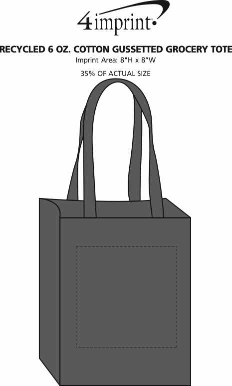 Imprint Area of Recycled 6 oz. Cotton Gussetted Grocery Tote