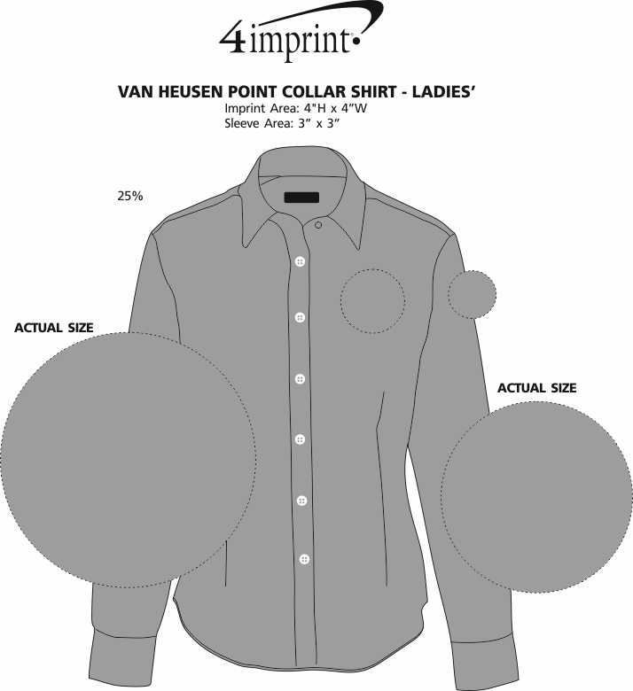 Imprint Area of Van Heusen Point Collar Shirt - Ladies'