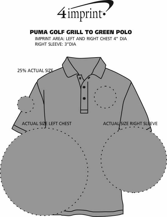 Imprint Area of PUMA Golf Grill To Green Polo