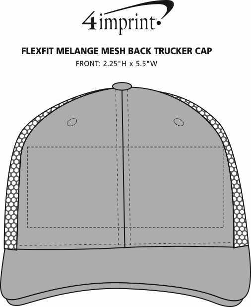 Imprint Area of Flexfit Melange Mesh Back Trucker Cap
