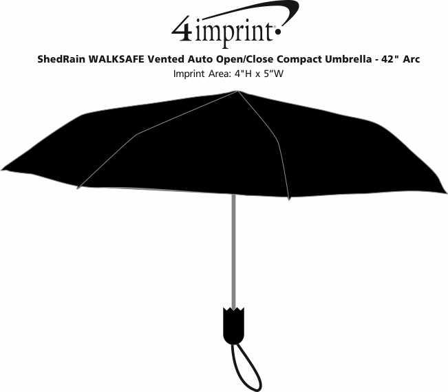 "Imprint Area of ShedRain WALKSAFE Vented Auto Open/Close Compact Umbrella - 42"" Arc"