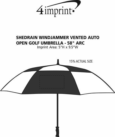 "Imprint Area of ShedRain WINDJAMMER Vented Auto Open Golf Umbrella - 58"" Arc"