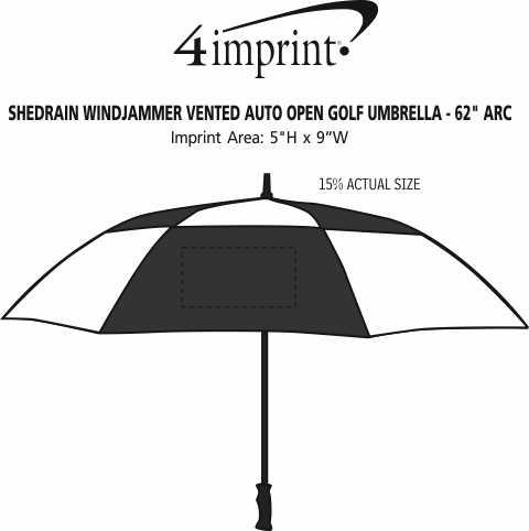 "Imprint Area of ShedRain WINDJAMMER Vented Auto Open Golf Umbrella - 62"" Arc"