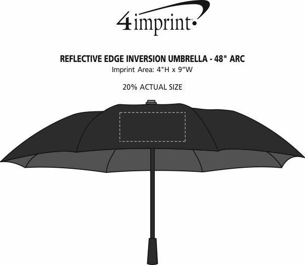 "Imprint Area of Reflective Edge Inversion Umbrella - 48"" Arc"