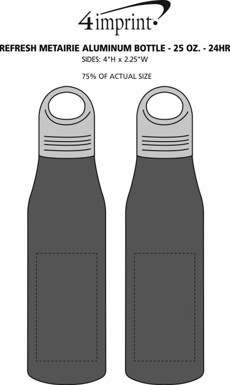 Imprint Area of Refresh Metairie Aluminum Bottle - 25 oz. - 24hr