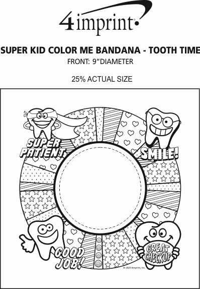 Imprint Area of Super Kid Color Me Bandana - Tooth Time