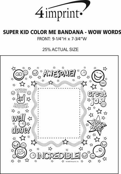 Imprint Area of Super Kid Color Me Bandana - Wow Words