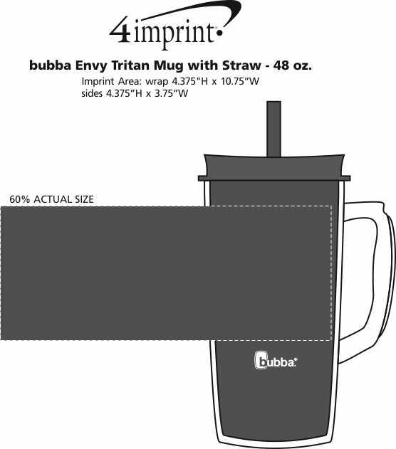 Imprint Area of bubba Envy Tritan Mug with Straw - 48 oz.