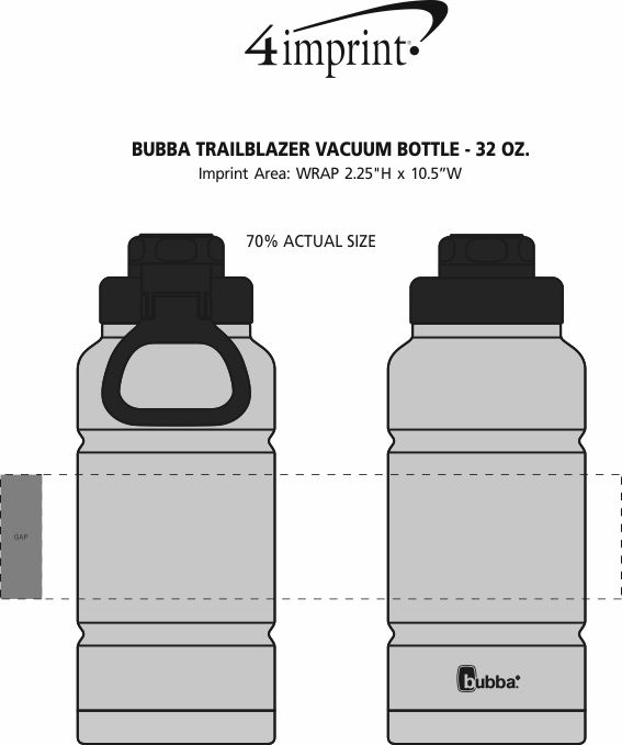 Imprint Area of bubba Trailblazer Vacuum Bottle - 32 oz.