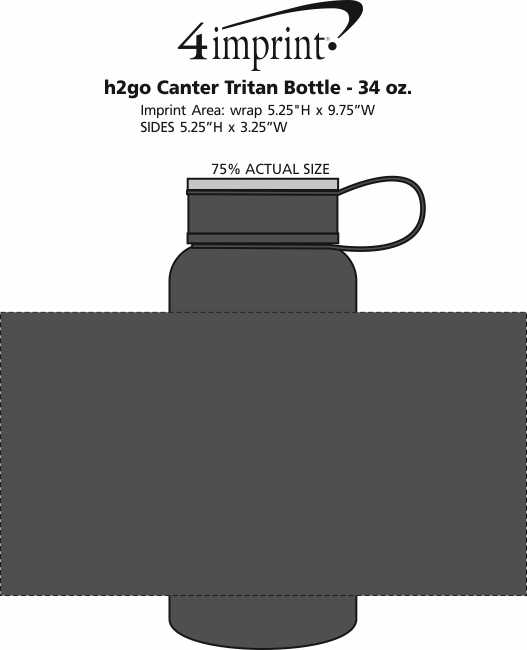 Imprint Area of h2go Canter Tritan Bottle - 34 oz.