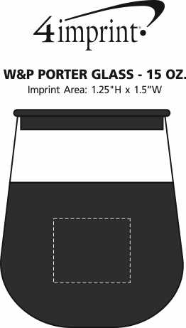 Imprint Area of W&P Porter Glass - 15 oz.