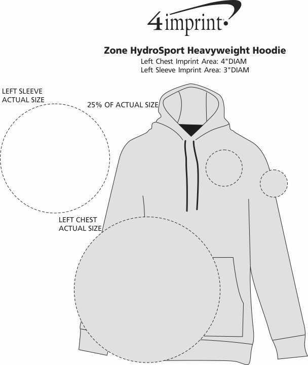 Imprint Area of Zone HydroSport Heavyweight Hoodie