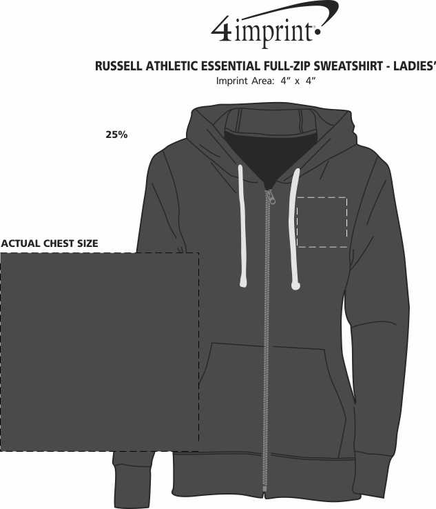 Imprint Area of Russell Athletic Essential Full-Zip Sweatshirt - Ladies'