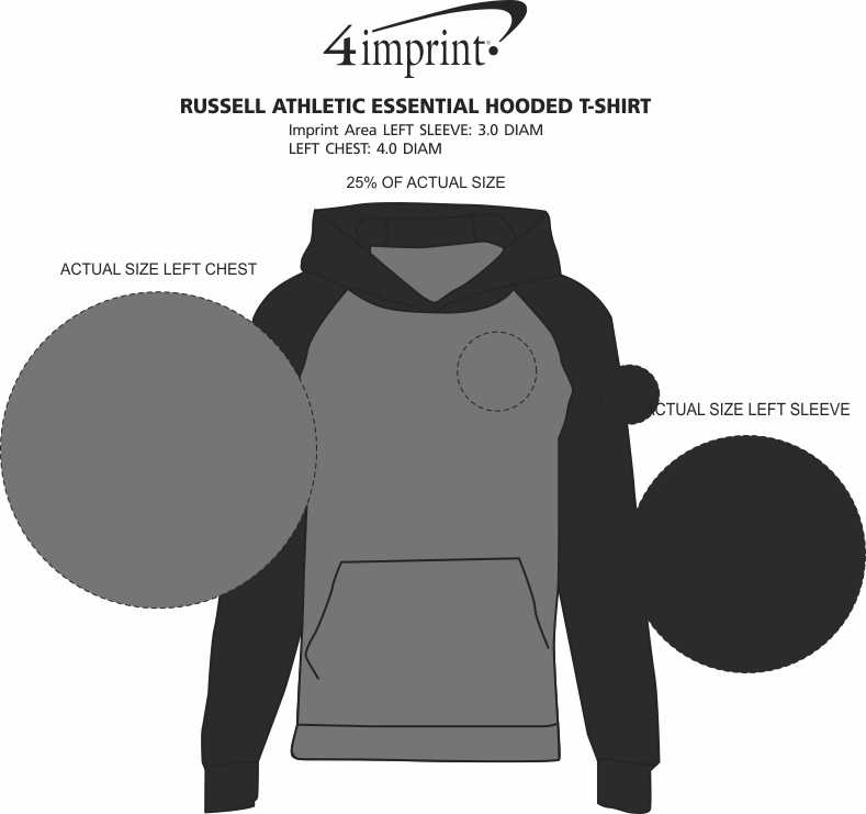 Imprint Area of Russell Athletic Essential Hooded T-Shirt
