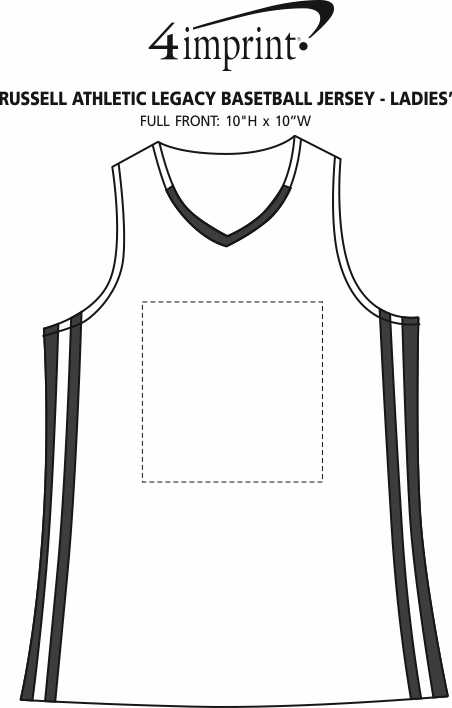Imprint Area of Russell Athletic Legacy Basketball Jersey - Ladies'