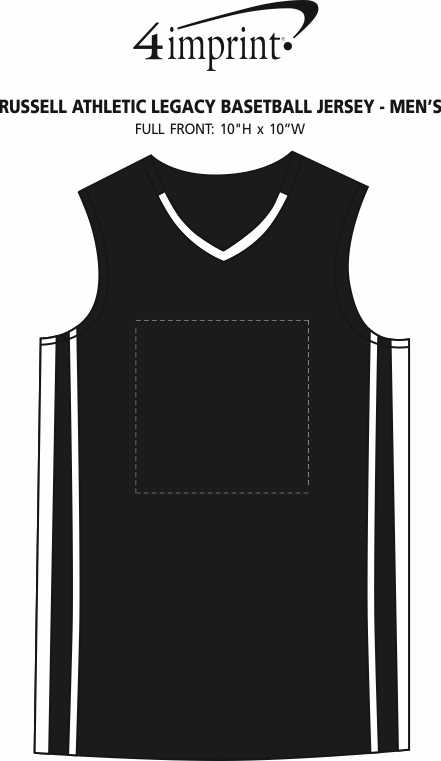 Imprint Area of Russell Athletic Legacy Basketball Jersey - Men's