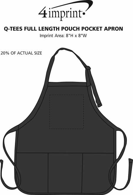 Imprint Area of Q-Tees Full Length Pouch Pocket Apron