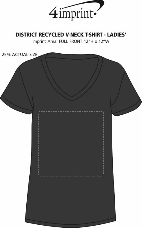 Imprint Area of District Recycled V-Neck T-Shirt - Ladies'