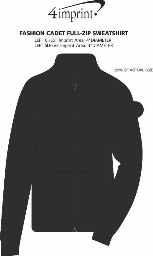 Imprint Area of Fashion Cadet Full-Zip Sweatshirt