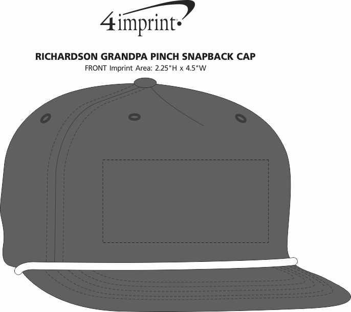 Imprint Area of Richardson Grandpa Pinch Snapback Cap