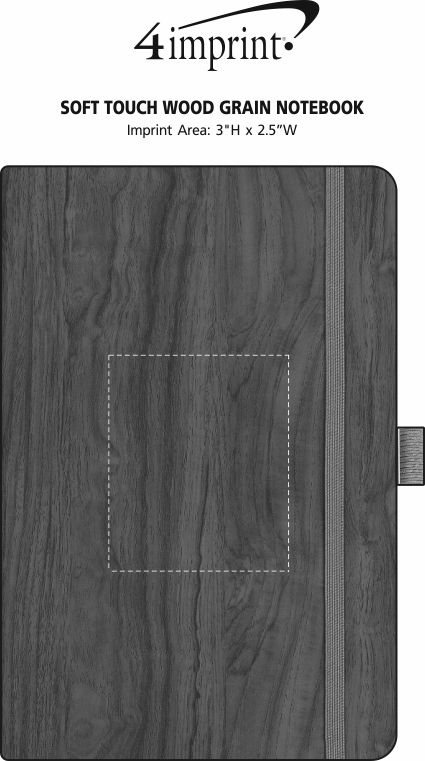 Imprint Area of Soft Touch Wood Grain Notebook
