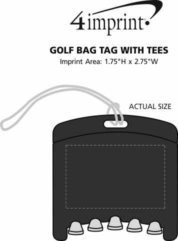Imprint Area of Golf Bag Tag with Tees