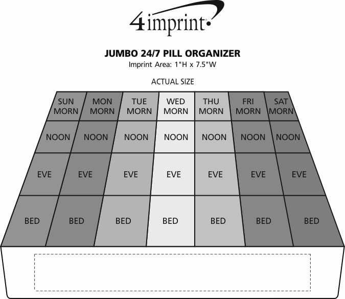 Imprint Area of Jumbo 24/7 Pill Organizer