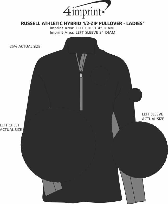 Imprint Area of Russell Athletic Hybrid 1/2-Zip Pullover - Ladies'