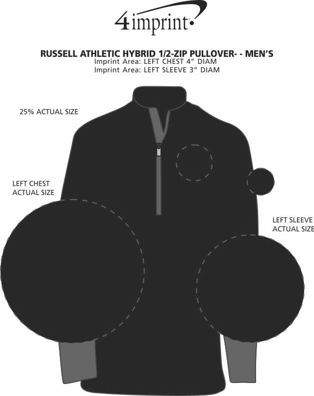 Imprint Area of Russell Athletic Hybrid 1/2-Zip Pullover - Men's